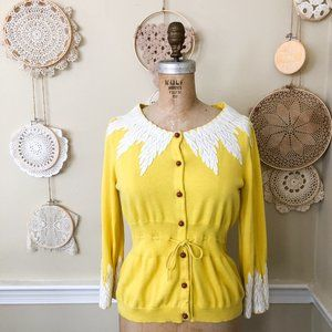 Anthropologie Moth Yellow Lace Applique Cardigan L